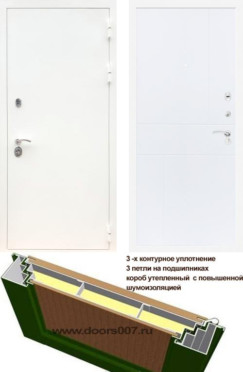 входные двери (стальные двери, металлические двери) DOORS007: дверь Сенатор Практик 3К Белый ФЛ-290