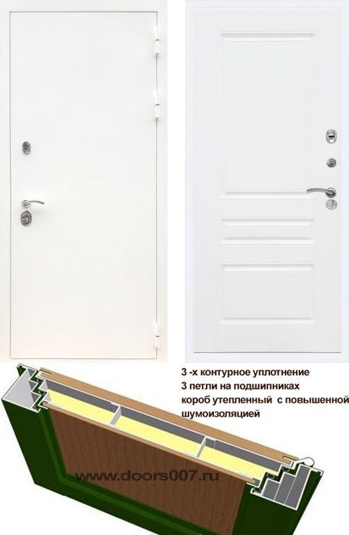 входные двери (стальные двери, металлические двери) DOORS007: дверь Сенатор Практик 3К Белый ФЛ-243