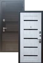 Стальная дверь Премиум ФЛ-185 СБ-14 Черное стекло