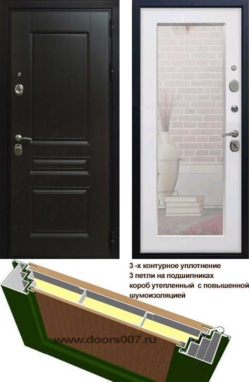 входные двери (стальные двери, металлические двери) DOORS007: дверь Сенатор Премиум H с зеркалом Пастораль