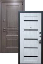 Стальная дверь Премиум S Лиственница СБ-14 Черное стекло