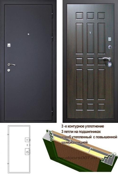 входные двери (стальные двери, металлические двери) DOORS007: дверь Сенатор Оптима 3К Черный шелк / Венге