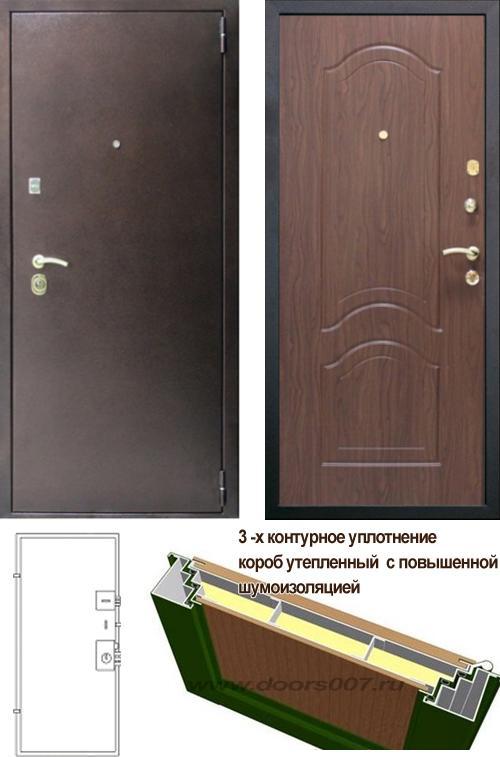входные двери (стальные двери, металлические двери) DOORS007: дверь Сенатор Оптима 3К Орех тисненый