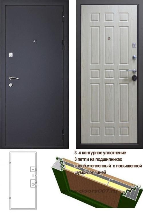 входные двери (стальные двери, металлические двери) DOORS007: дверь Сенатор Оптима 3К Черный шелк / Беленый дуб