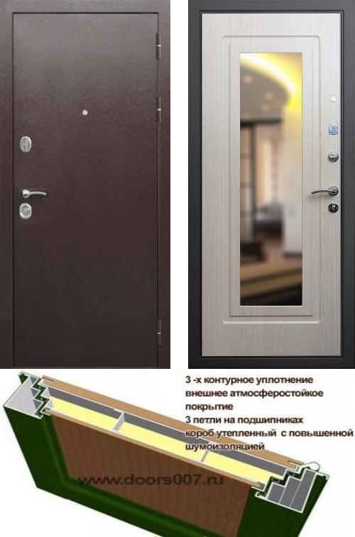 входные двери (стальные двери, металлические двери) DOORS007: дверь Сенатор Практик 3К с зеркалом, Цвет