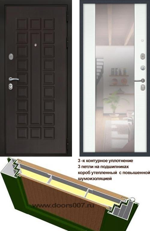 входные двери (стальные двери, металлические двери) DOORS007: дверь Сенатор Престиж 3К с зеркалом СБ-16