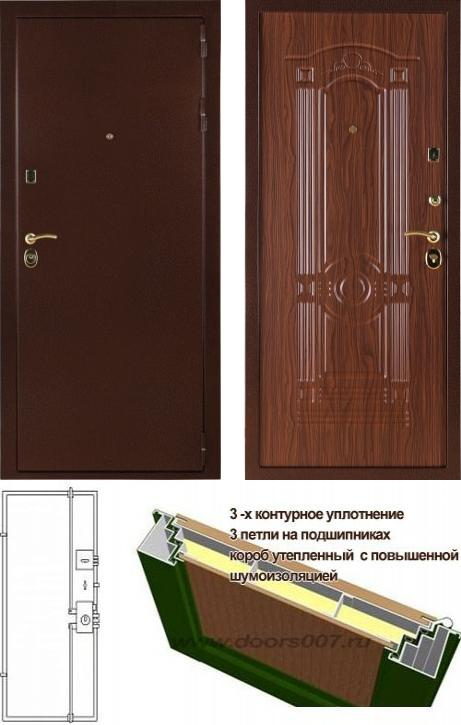 входные двери (стальные двери, металлические двери) DOORS007: дверь Сенатор Стандарт 3К Орех Тисненый
