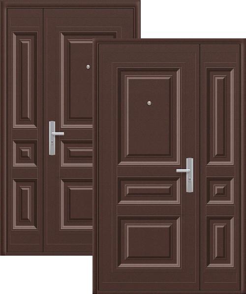 входные двери (стальные двери, металлические двери) DOORS007: дверь Эконом К700 (66мм, 1 замок, ширина: 1300мм)