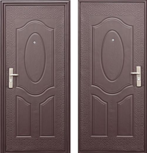входные двери (стальные двери, металлические двери) DOORS007: дверь Эконом E40 (40мм, 1 замок)