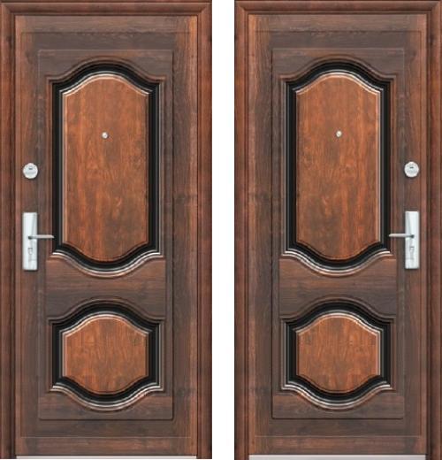 входные двери (стальные двери, металлические двери) DOORS007: дверь Эконом К550 (66мм, 2 замка)