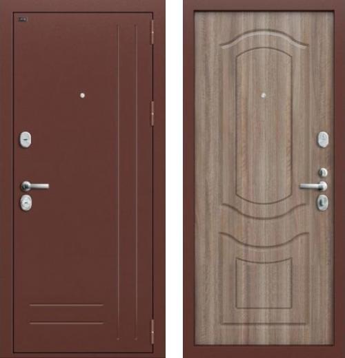 входные двери (стальные двери, металлические двери) DOORS007: дверь Groff P2-200 П-1 Темный Орех