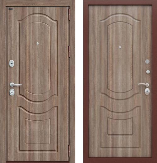 входные двери (стальные двери, металлические двери) DOORS007: дверь Groff P3-300 П-1 Темный Орех