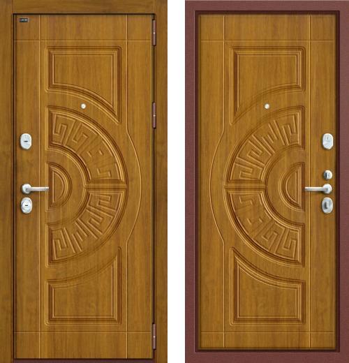 входные двери (стальные двери, металлические двери) DOORS007: дверь Groff P3-302 П-4 Золотой Дуб