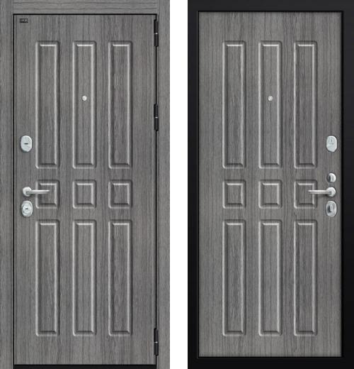 входные двери (стальные двери, металлические двери) DOORS007: дверь Groff P3-303 П-27 Серый Дуб