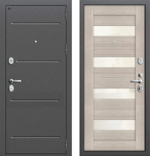 входные двери (стальные двери, металлические двери) DOORS007: дверь Groff Т2-223 Cappuccino Veralinga/White Pearl