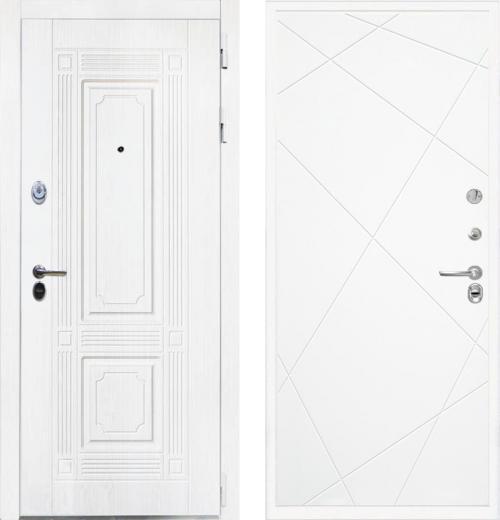 входные двери (стальные двери, металлические двери) DOORS007: дверь Интекрон Брайтон White Лучи