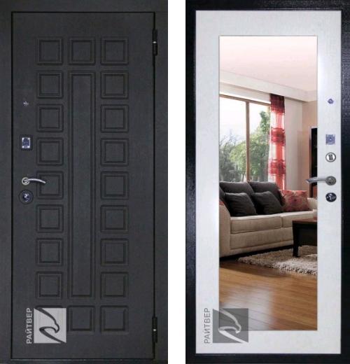 входные двери (стальные двери, металлические двери) DOORS007: дверь Кондор РАЙТВЕР Р-Сенат Life с зеркалом
