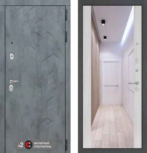 входные двери (стальные двери, металлические двери) DOORS007: дверь Labirint Beton с зеркалом Максимум, Цвет