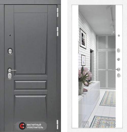 входные двери (стальные двери, металлические двери) DOORS007: дверь Labirint Платинум с зеркалом Максимум, Цвет