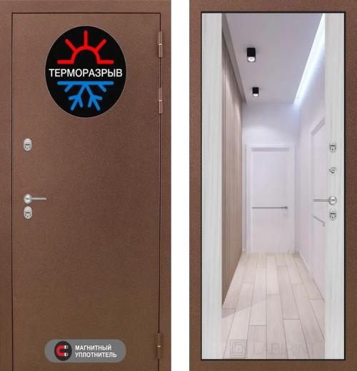 входные двери (стальные двери, металлические двери) DOORS007: дверь Labirint Термо Магнит с зеркалом Максимум, Цвет