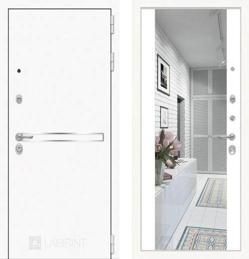 входные двери (стальные двери, металлические двери) DOORS007: дверь Labirint Лайн WHITE с широким зеркалом Максимум, цвет