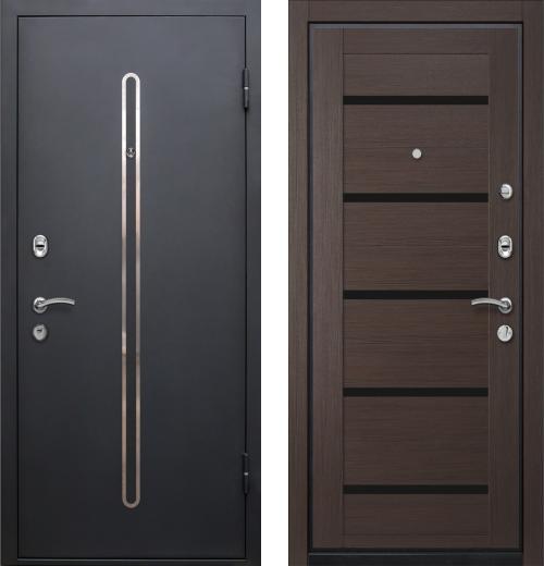 входные двери (стальные двери, металлические двери) DOORS007: дверь Ле-Гран БАЗА 57 «КЁЛЬН-1» 7X Венге, черное стекло
