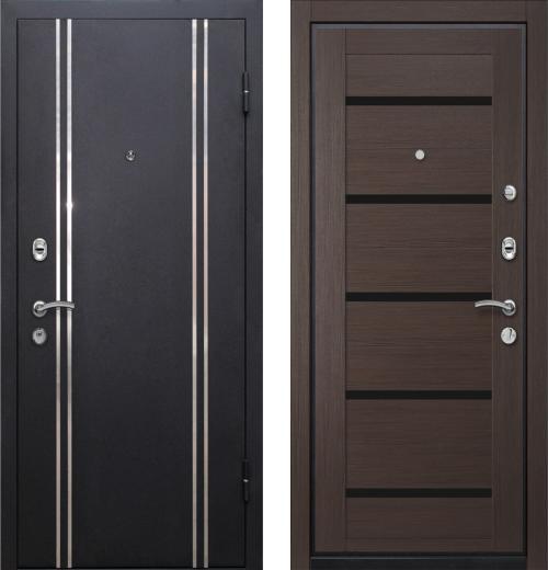 входные двери (стальные двери, металлические двери) DOORS007: дверь Ле-Гран БАЗА 57 «МЮНХЕН-1» 7X Венге, черное стекло