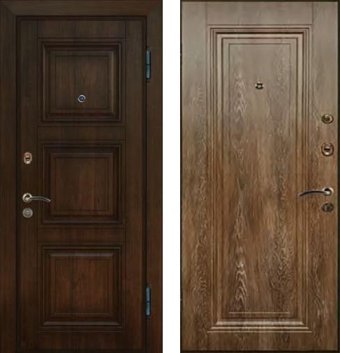входные двери (стальные двери, металлические двери) DOORS007: дверь Ле-Гран БАЗА 42 «Волкодав» ST-33 Дуб Коричневый / ST-30 Дуб Шале Корица