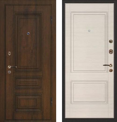 входные двери (стальные двери, металлические двери) DOORS007: дверь Ле-Гран БАЗА 42 «Волкодав» STP-32 Винорит 17 с патиной / ST-12 Дуб Сильвер