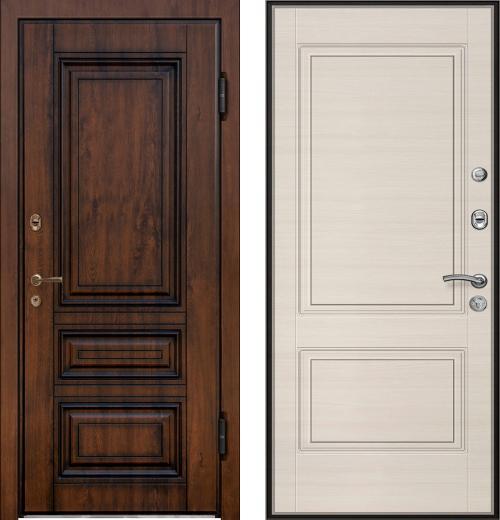 входные двери (стальные двери, металлические двери) DOORS007: дверь Ле-Гран БАЗА 42 «Волкодав» ТЕРМО STP-32 Винорит 17 с патиной / ST-12 Дуб Сильвер