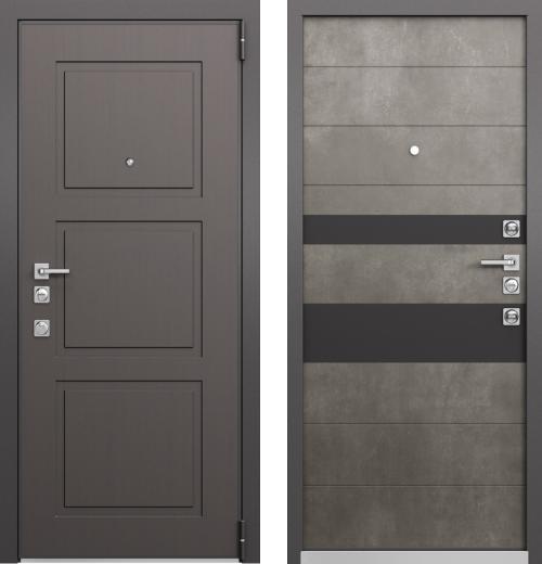 входные двери (стальные двери, металлические двери) DOORS007: дверь Mastino FORTE Синхропоры модерн MS-104 / Бетон Темный  MS-118