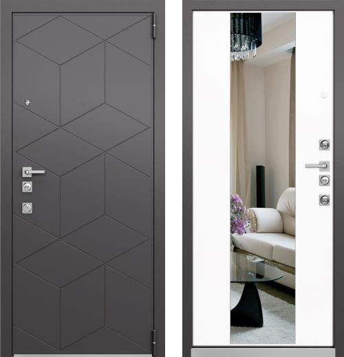 входные двери (стальные двери, металлические двери) DOORS007: дверь Mastino FORTE Темный Пепел MS-112 / Милк Матовый зерк. MS-120