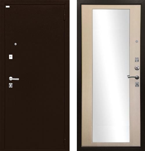 входные двери (стальные двери, металлические двери) DOORS007: дверь Ратибор Люкс с зеркалом