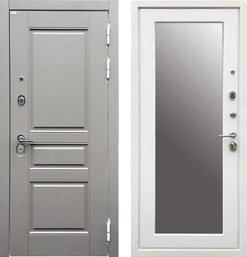 входные двери (стальные двери, металлические двери) DOORS007: дверь Ратибор Лондон 3К Grey Soft Зеркало