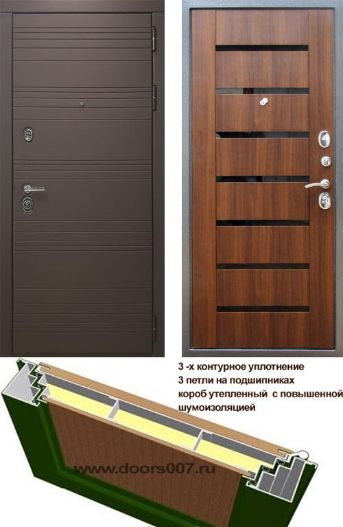 входные двери (стальные двери, металлические двери) DOORS007: дверь Rex 14 Шоколад СБ-14 Черное стекло, Цвет