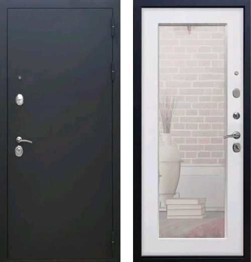 входные двери (стальные двери, металлические двери) DOORS007: дверь Rex 1А Пастораль с зеркалом (Черный муар / Ясень белый)