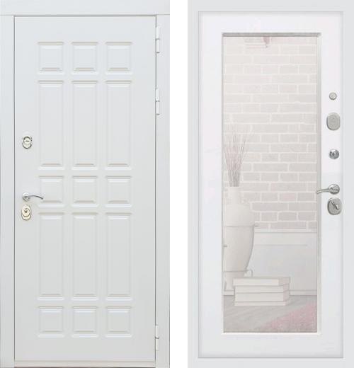 входные двери (стальные двери, металлические двери) DOORS007: дверь Rex 8 Белый с зеркалом