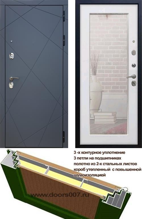 входные двери (стальные двери, металлические двери) DOORS007: дверь Rex 13 с зеркалом