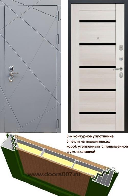 входные двери (стальные двери, металлические двери) DOORS007: дверь Rex 13 CISA СБ-14 Черное стекло, Цвет