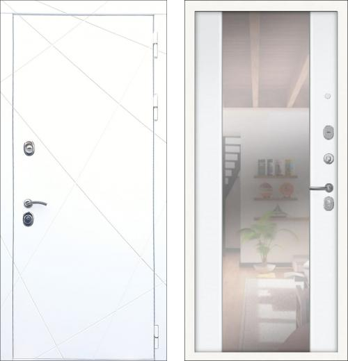 входные двери (стальные двери, металлические двери) DOORS007: дверь Rex 13 Белый с зеркалом СБ-16