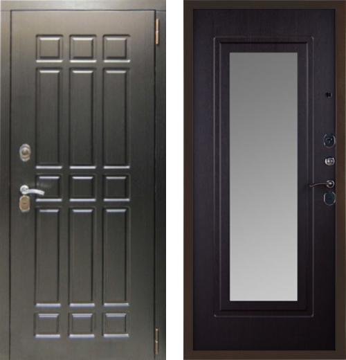 входные двери (стальные двери, металлические двери) DOORS007: дверь Страж Квадро с зеркалом