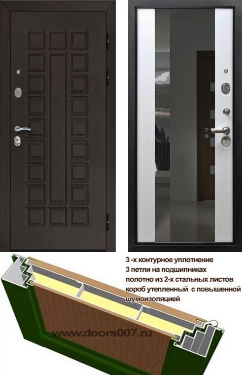 входные двери (стальные двери, металлические двери) DOORS007: дверь Страж Сенатор с зеркалом