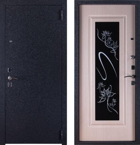 входные двери (стальные двери, металлические двери) DOORS007: дверь Страж 12 Триумф со стеклом (Черный триплекс)